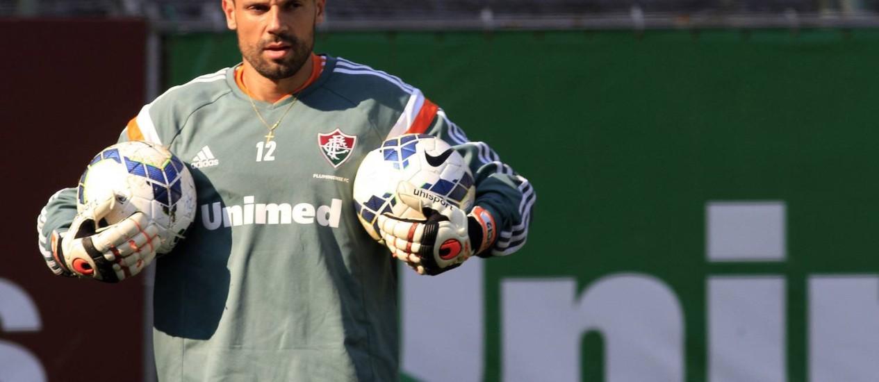 O goleiro Diego Cavalieri nesta quinta-feira, nas Laranjeiras Foto: Divulgação / Fluminense