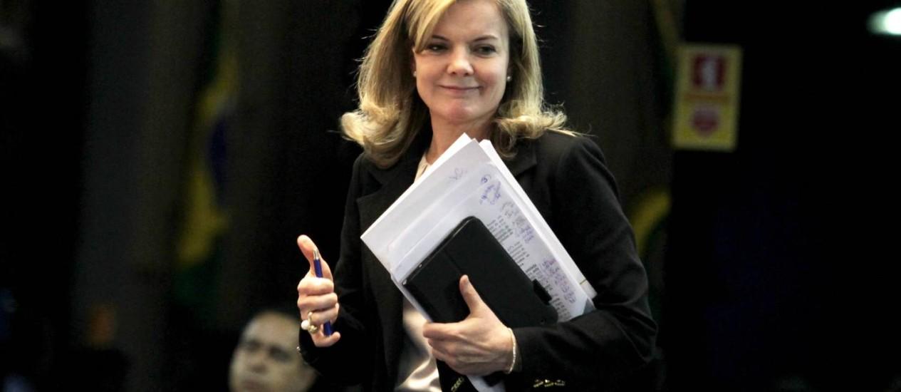 """""""A oposição não teve responsabilidade com o Congresso"""", diz Gleisi Hoffmann. Foto: Ailton de Freitas/ O Globo"""