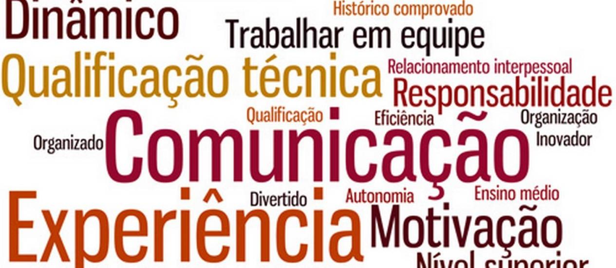Os termos mais usados em anúncios de emprego no Brasil e no mundo Foto: Arte/O Globo