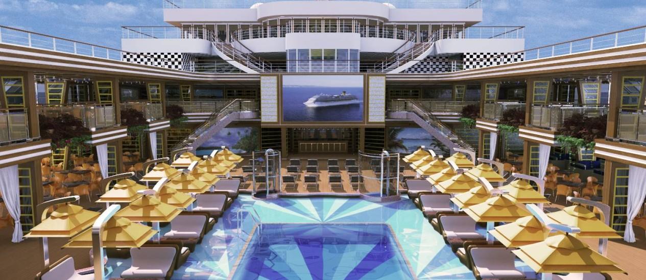 Projeção da piscina central do Costa Diadema, novo navio de cruzeiros da Costa Foto: Divulgação