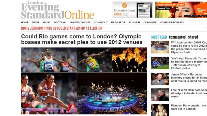 A reportagem publicada na capa do site do vespertino britânico