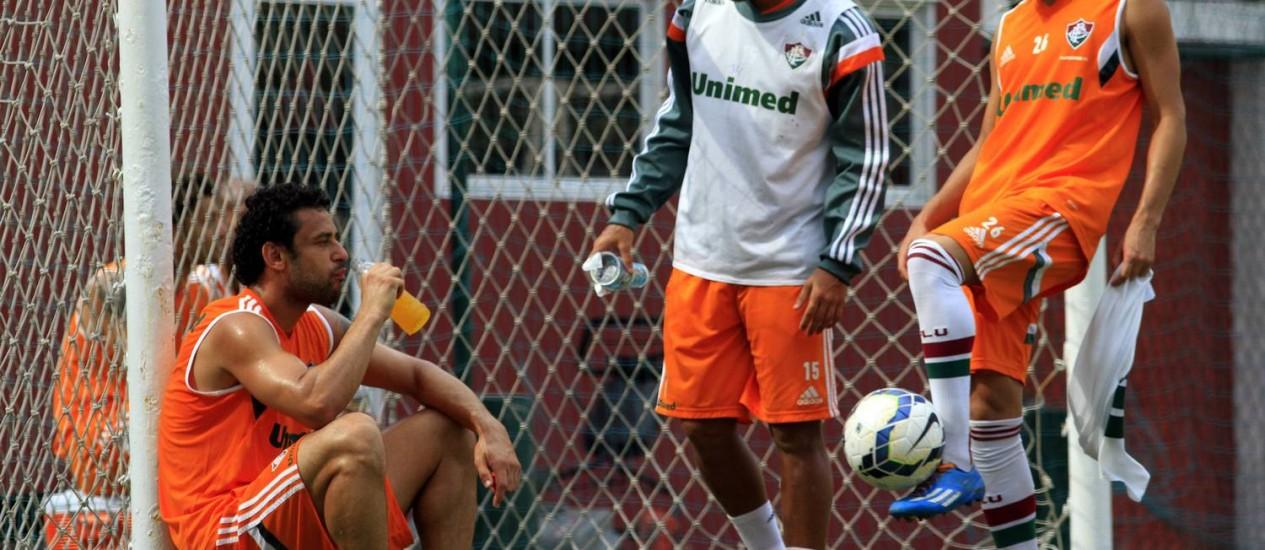 Fred em momento de descando durante treino do Flu Foto: Divulgação / Fluminense