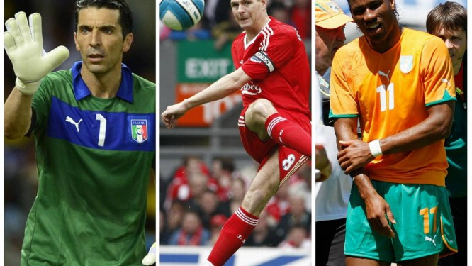 Buffon, da Itália; Gerrard, da Inglaterra; e Drogba, da Costa do Marfim: astros que vão se despedir das Copas no Brasil Foto: AFP, Reuters e AP
