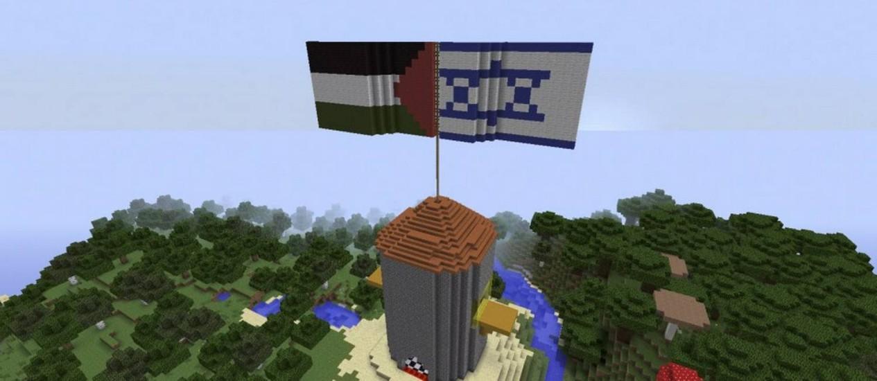 """Sonho para o futuro. A Cidade da Paz criada no site por crianças israelenses e palestinas com a ajuda do videogame """"Minecraft"""" Foto: Reprodução"""