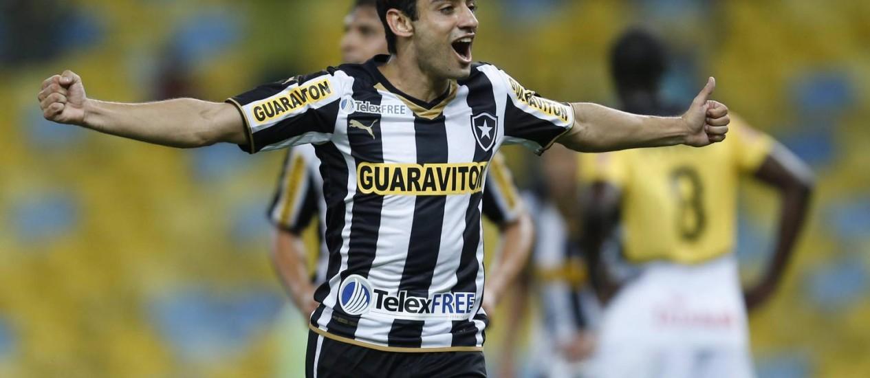 Daniel comemora um dos três gols na vitória do Botafogo sobre o Criciúma Foto: Alexandre Cassiano / Agência O Globo