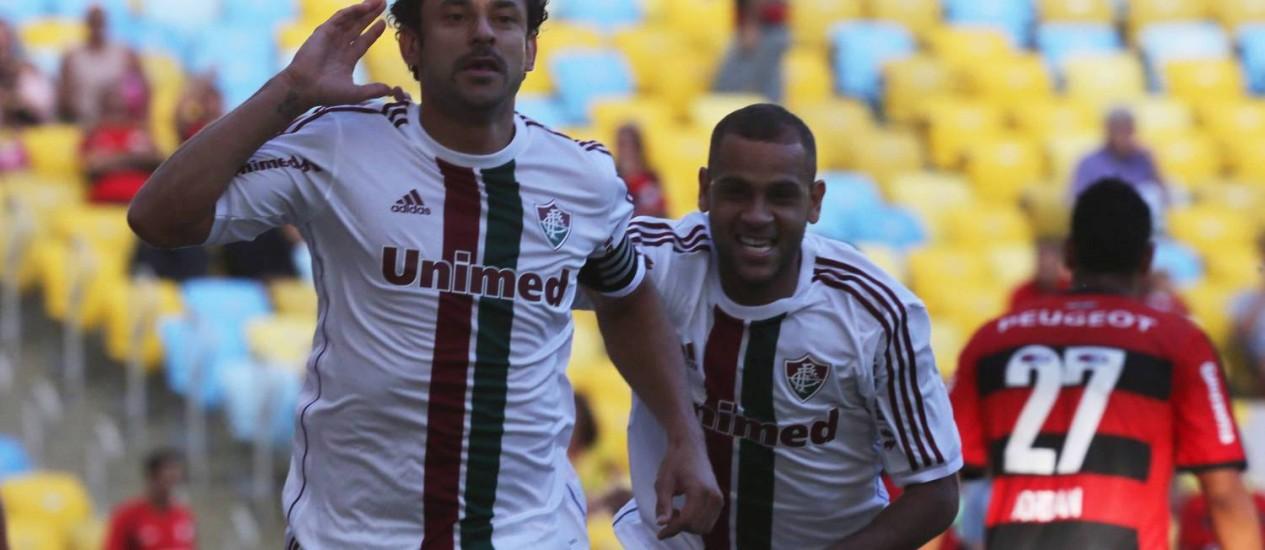 Fred comemora o gol contra o Flamengo Foto: MARCELO REGUA / Agência O Globo