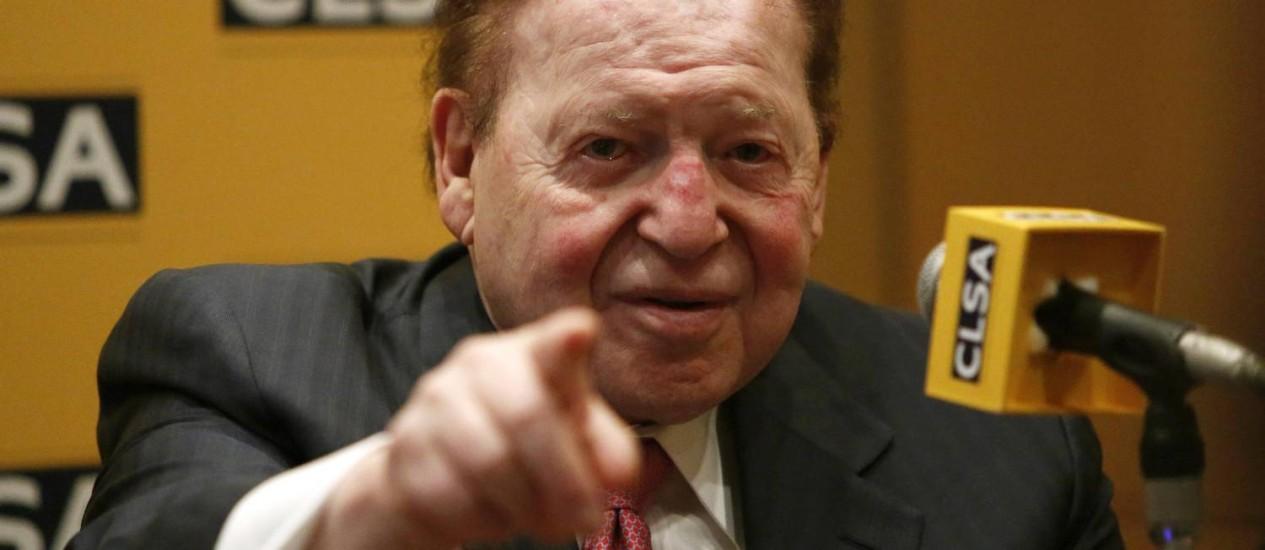 Sheldon Adelson, de 80 anos, dono de cassinos em Las Vegas: fortuna de US$ 39 bilhões Foto: Yuya Shino / Reuters