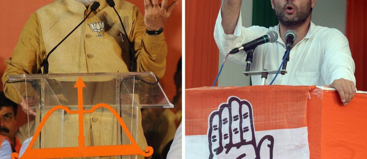 Eleições na Índia. Narendra Modi (esquerda) é o favorito para acabar com o domínio do Congresso Nacional Indiano, partido de Rahul Gandhi (direita) Foto: DSK / AFP