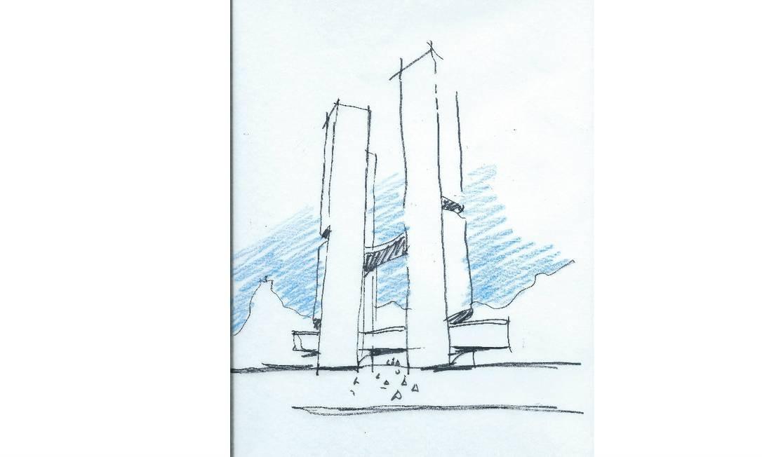 Croqui de prédio que será erguido em Niterói: um dos últimos desenhados pelo mestre Foto: / Divulgação
