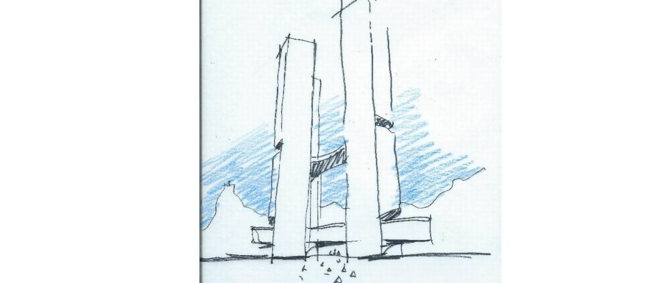 Croqui de prédio que será erguido em Niterói: um dos últimos desenhados pelo mestre Foto: Divulgação