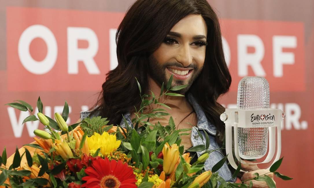 Em 2014, 180 milhões de pessoas, quase a população do Brasil, viram a vitória de Conchita Wurst no Eurovision Foto: Leonhard Foeger / Reuters