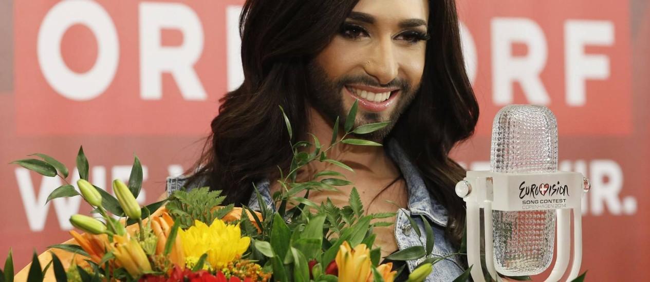 180 milhões de pessoas, quase a população do Brasil, viram a vitória de Conchita Wurst no Eurovision Foto: Leonhard Foeger / Reuters