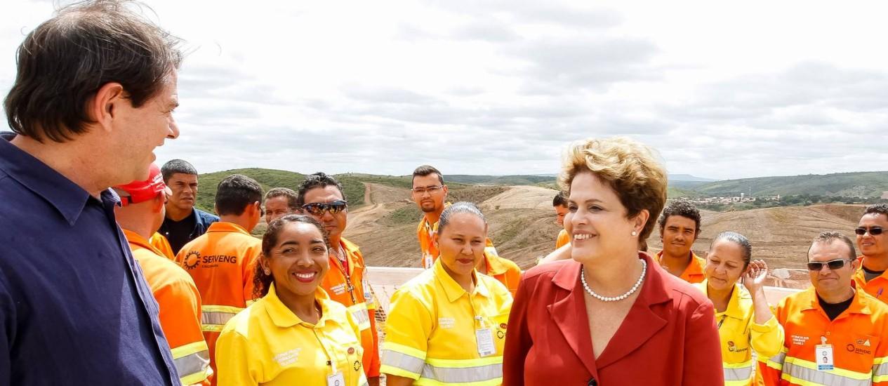 Dilma visita a Barragem de Jati, no Rio São Francisco, no Ceará Foto: R.Stuckert / Divulgação