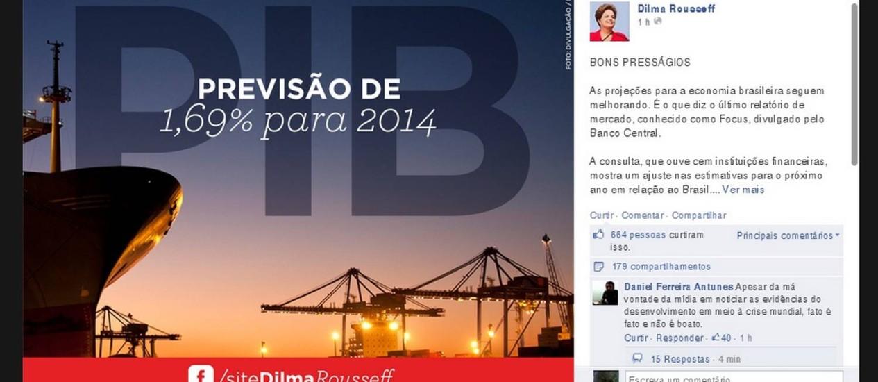 Perfil da presidente na rede social: 'projeções seguem melhorando' Foto: Reprodução da internet