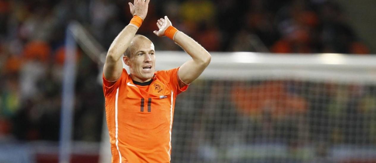 Arjen Robben é um dos trunfos da Holanda para a Copa no Brasil Foto: THOMAS COEX / AFP