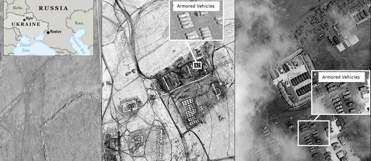 Imagens de satélite mostram movimentação de veículos blindados russos perto da fronteira com a Ucrânia. Na última semana o presidente russo, Vladimir Putin, afirmou que tropas já haviam recuado da fronteira Foto: REUTERS