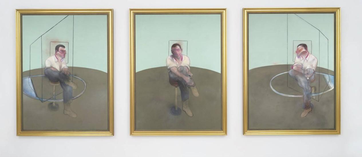 """O tríptico de Francis Bacon """"Three studies for a portrait of John Edwards"""", de 1984, vendido por US$ 80,8 milhões nesta terça-feira Foto: Divulgação/Christie's"""