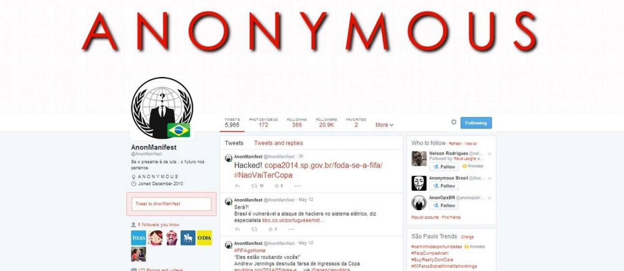 Pelo Twitter, grupo comemora o ataque a site do governo de São Paulo Foto: Reprodução da internet