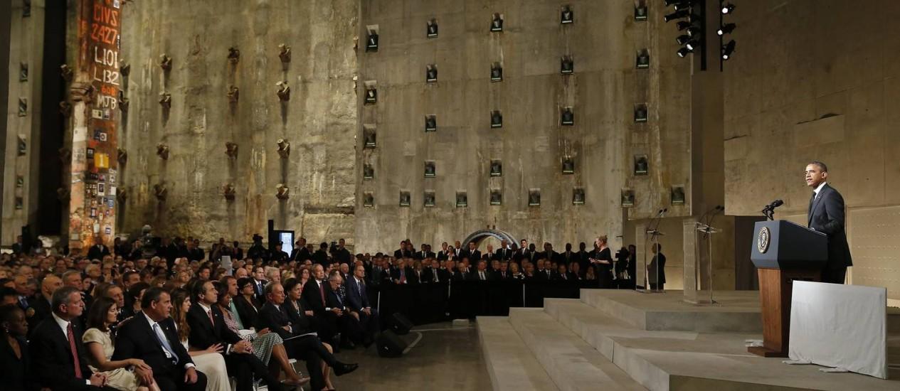 Presidente Barack Obama discursa na inauguração do Memorial do 11 de Setembro, em Nova York Foto: MIKE SEGAR / AFP