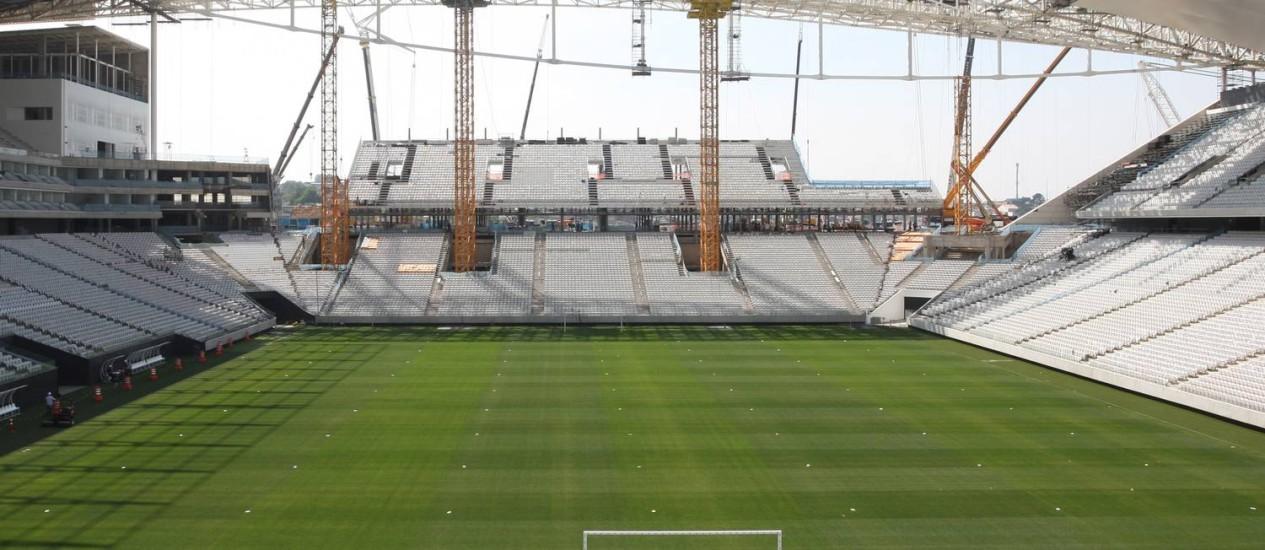 O Itaquerão será o palco da abertura da Copa do Mundo, no dia 12, entre Brasil e Croácia Foto: Michel Filho / O Globo