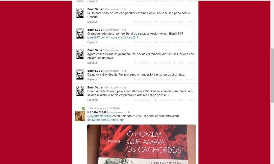As afirmações de Emir Sader geraram polêmica nas redes sociais Foto: Reprodução de internet