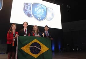 Barbara, Gabriel, Raissa e Salvador: premiados no evento Foto: / Foto Luis Eduardo Selbach/Divulgação