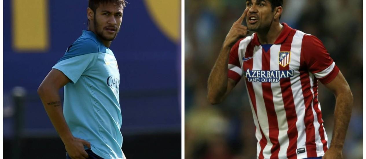 Neymar e Diego Costa: retornando de lesões, os dois são atrações do Barcelona x Atlético de Madrid deste sábado, no Camp Nou. Mas o camisa 10 da seleção brasileira começará no banco Foto: Fotos: AFP e Reuters