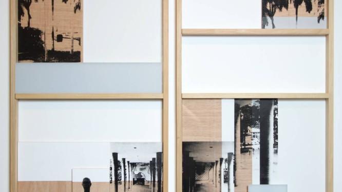 """Colagem de tempos. O díptico """"Fachada - Dispositivo 12"""" (2014), com imagens do Capanema: trabalho lembra as janelas do edifício que inspira a exposição Foto: Divulgação"""