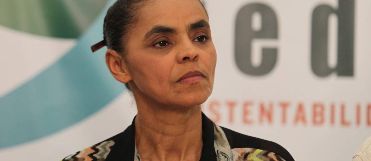 Marina Silva durante coletiva no Congresso Nacional da Rede Foto: Ailton de Freitas/Agência O Globo