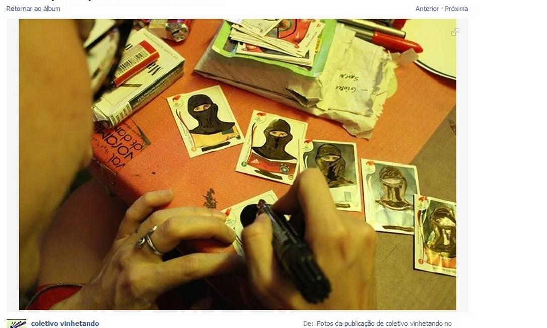 Tutorial postado no Facebook do Coletivo Vinhetando ensina a alterar figurinhas da Copa Foto: Reprodução da web