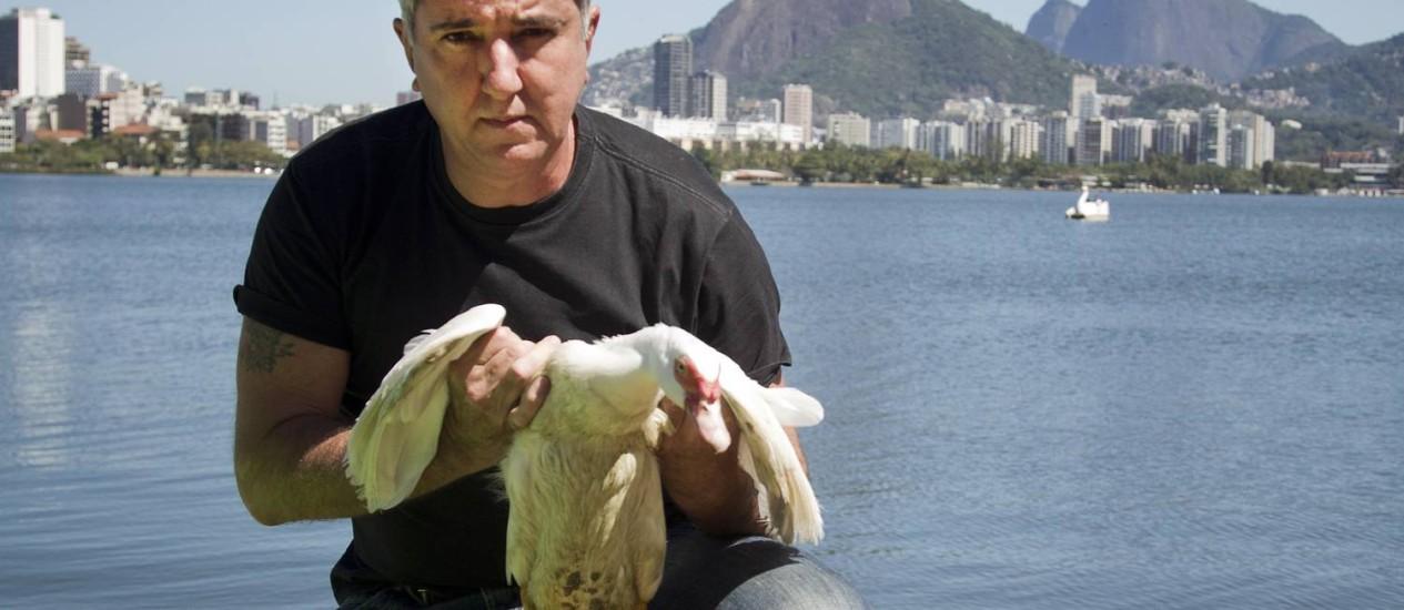Paulo Maia durante resgate de uma pato em 2012 Foto: Agência O Globo / Guito Moreto