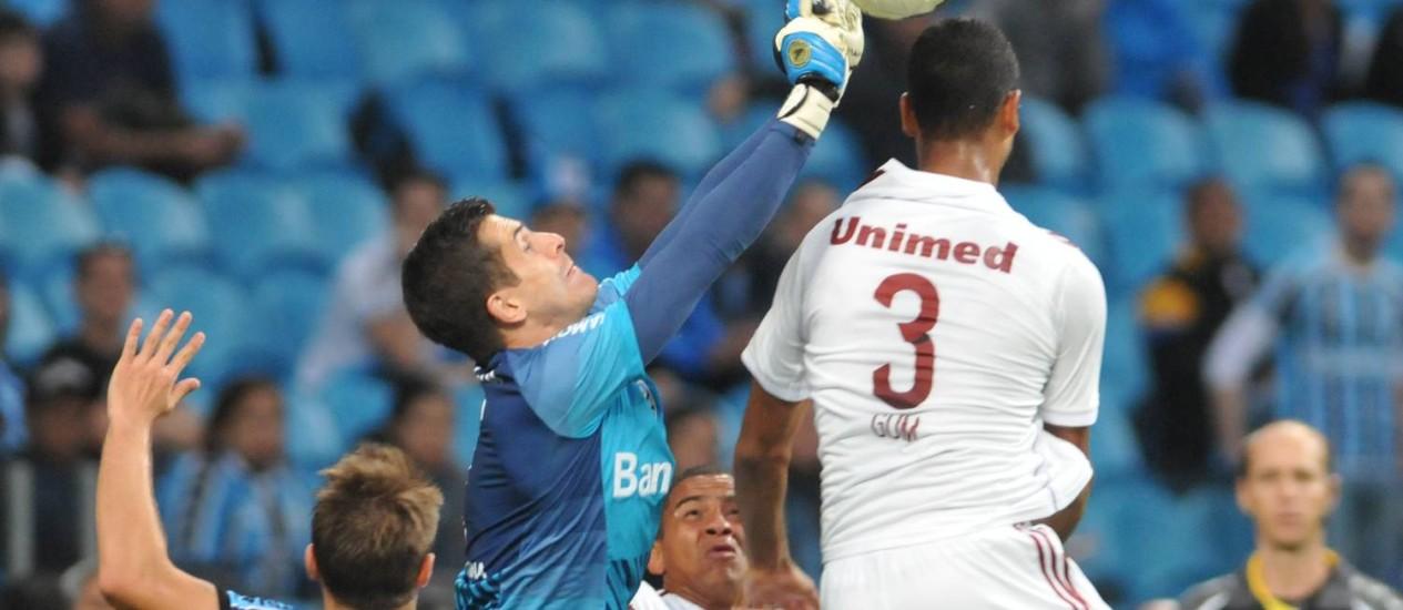 Marcelo Grohe foi o destaque na vitória do Grêmio sobre o Fluminense Foto: Photocamera / Divulgação