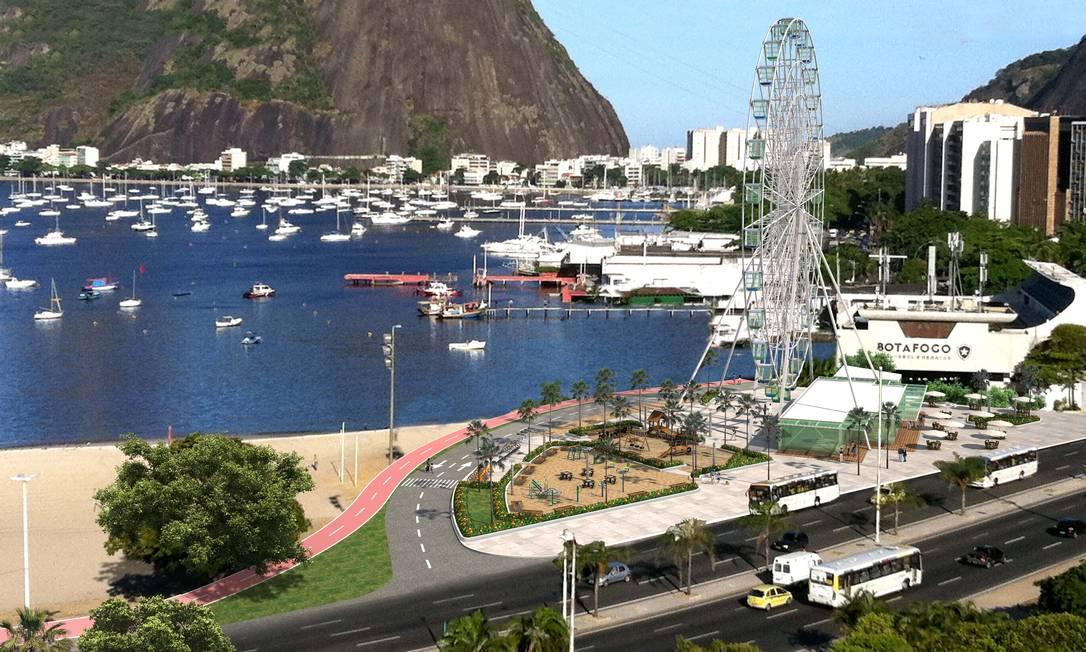 Simulação de como deve ficar a roda-gigante Estrela do Rio na Enseada de Botafogo Foto: Brasil 360 Graus / Divulgação