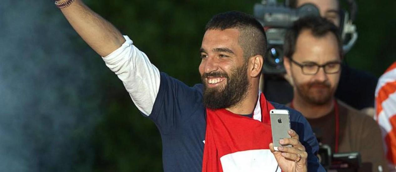 Arda durante as comemorações do título espanhol no último sábado Foto: AFP