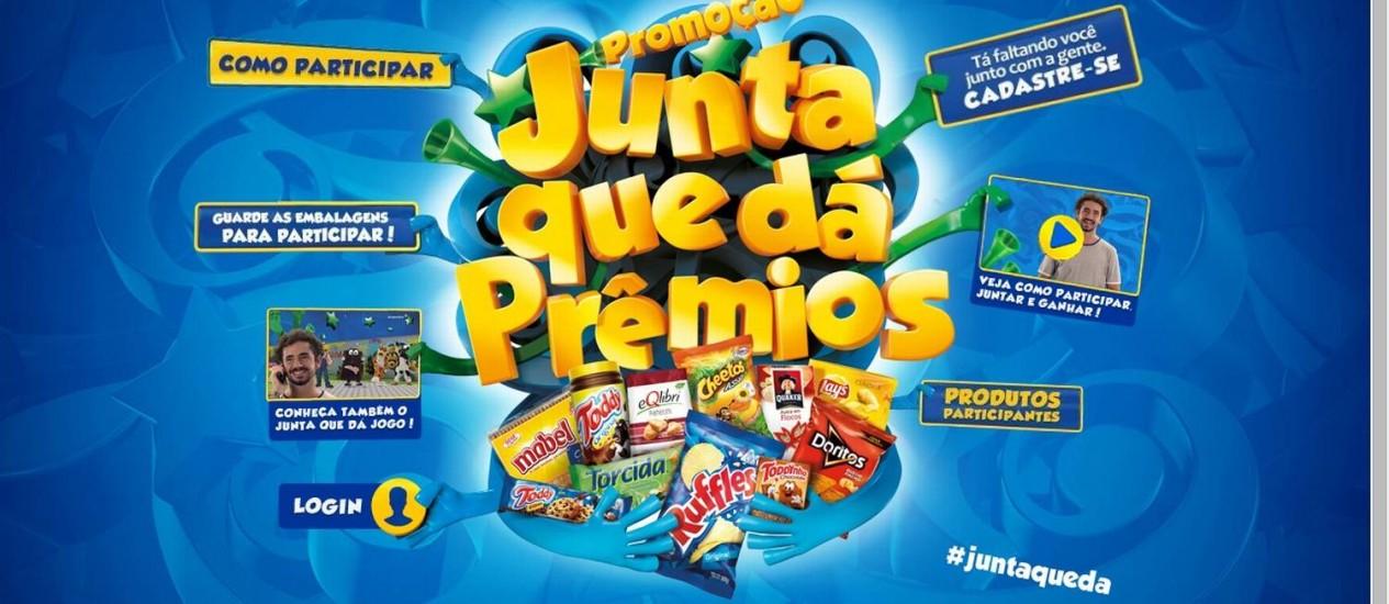 """Site da promoção """"Junta que dá"""" da Pepsico do Brasil Foto: Reprodução"""