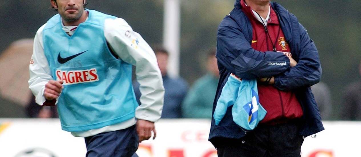 Figo com Felipão na seleção portuguesa Foto: Armando Franca / AP