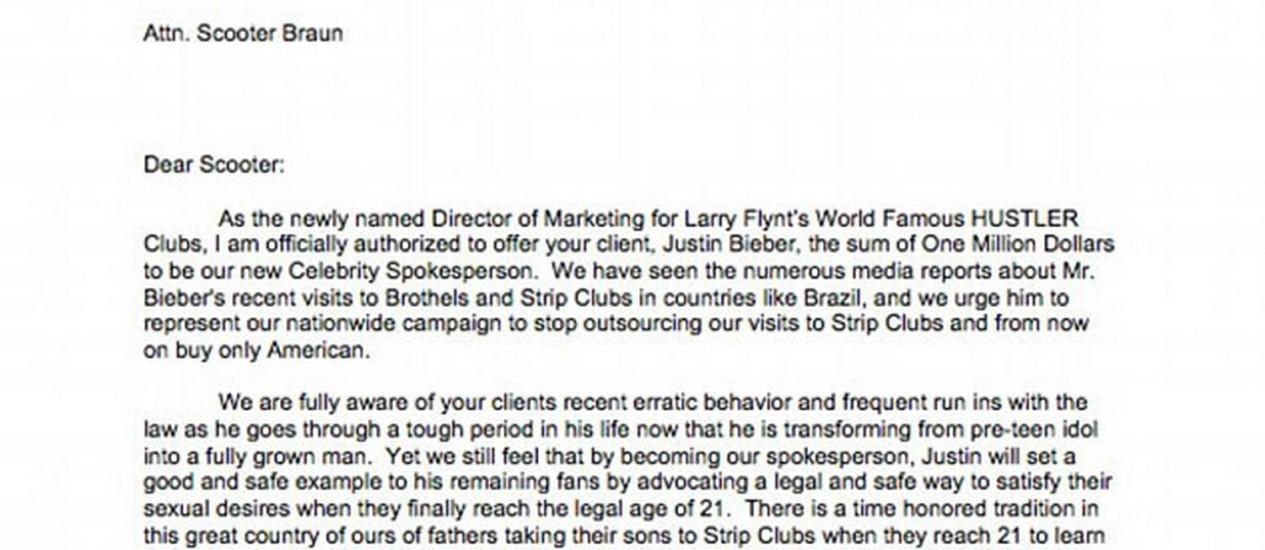 Trecho da carta enviada pelo empresário Larry Flynt Foto: Divulgação