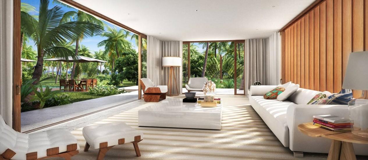 Projeto de uma das casas que será construída no local mostra a integração com o verde Foto: Divulgação
