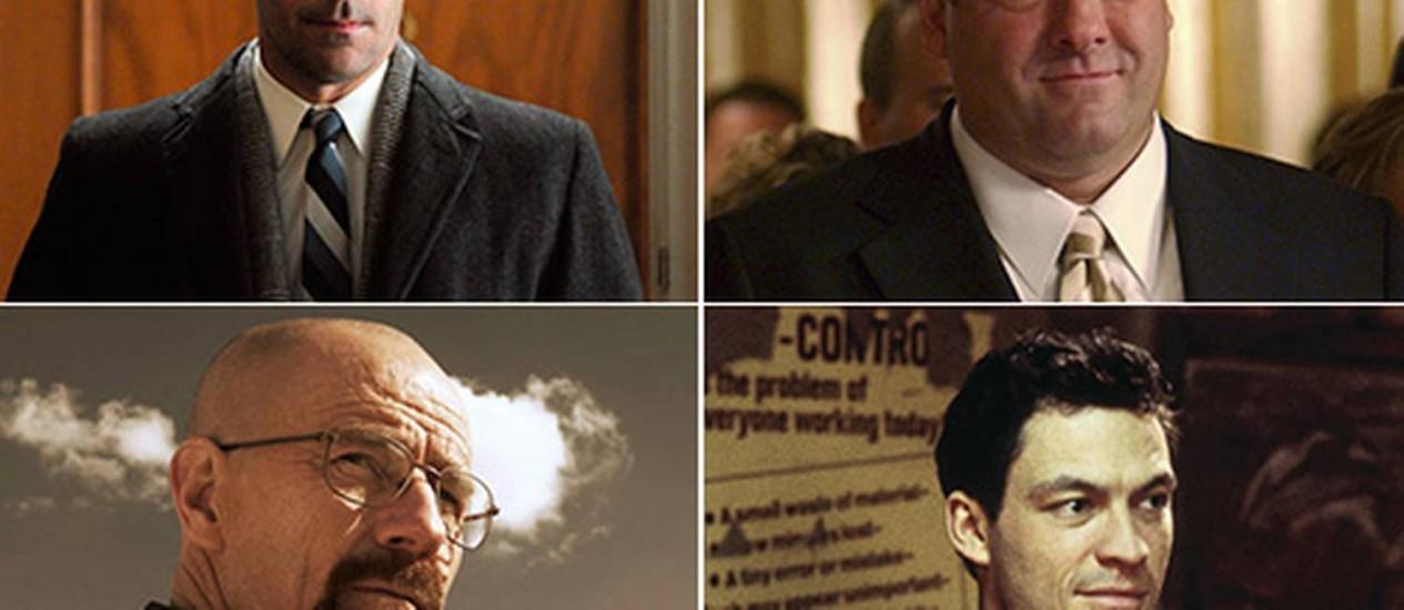 Jon Hamm ('Mad men'), James Gandolfini ('Sopranos'), Bryan Cranston ('Breaking bad') e Dominic West ('The wire') Foto: Divulgação