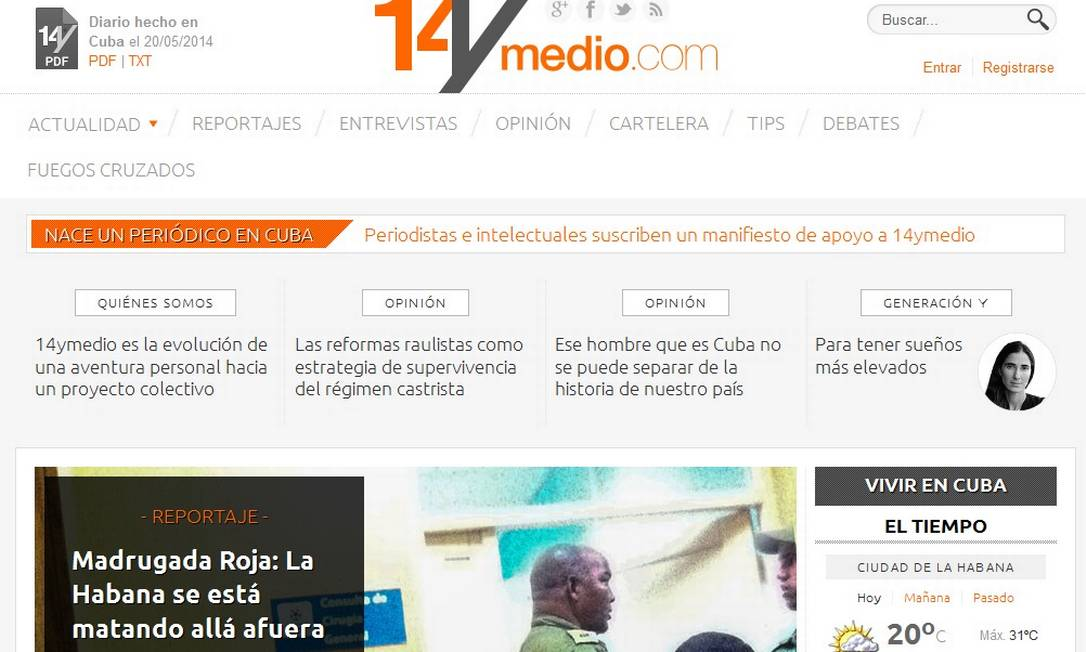 14yMedio: o jornal online lançado pela blogueira cubana Yoani Sánchez Foto: / Reprodução da internet