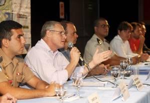 Secretário estadual de Segurança, José Mariano Beltrame fala no XIII Fórum de Segurança da Barra Foto: Eduardo Naddar / Agência O Globo