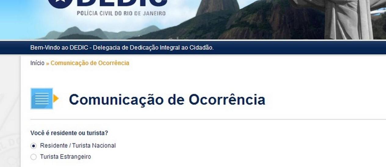 A página online da Delegacia de Dedicação Integral ao Cidadão (Dedic) Foto: Reprodução internet