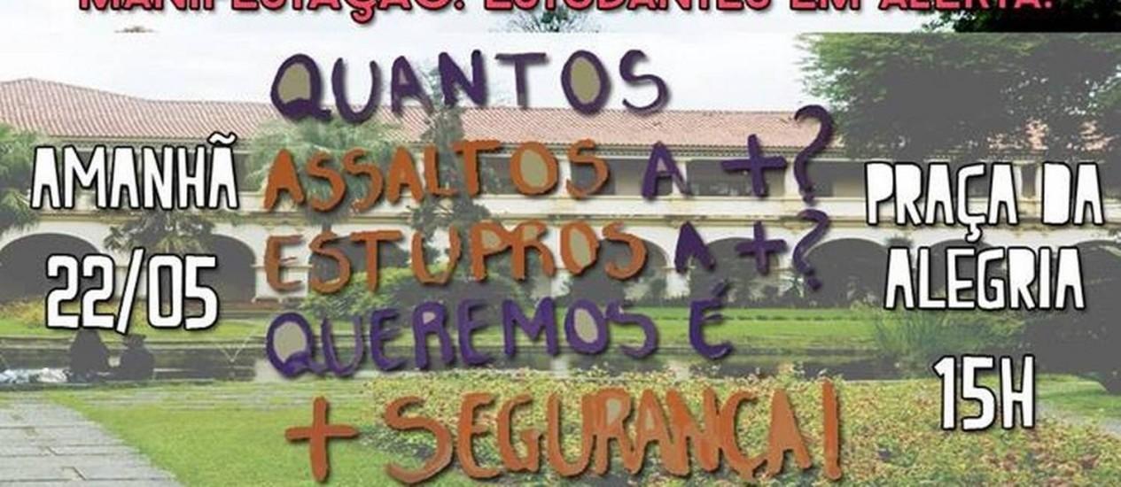 Cartaz convoca estudantes para a manifestação Foto: Reprodução do Facebook