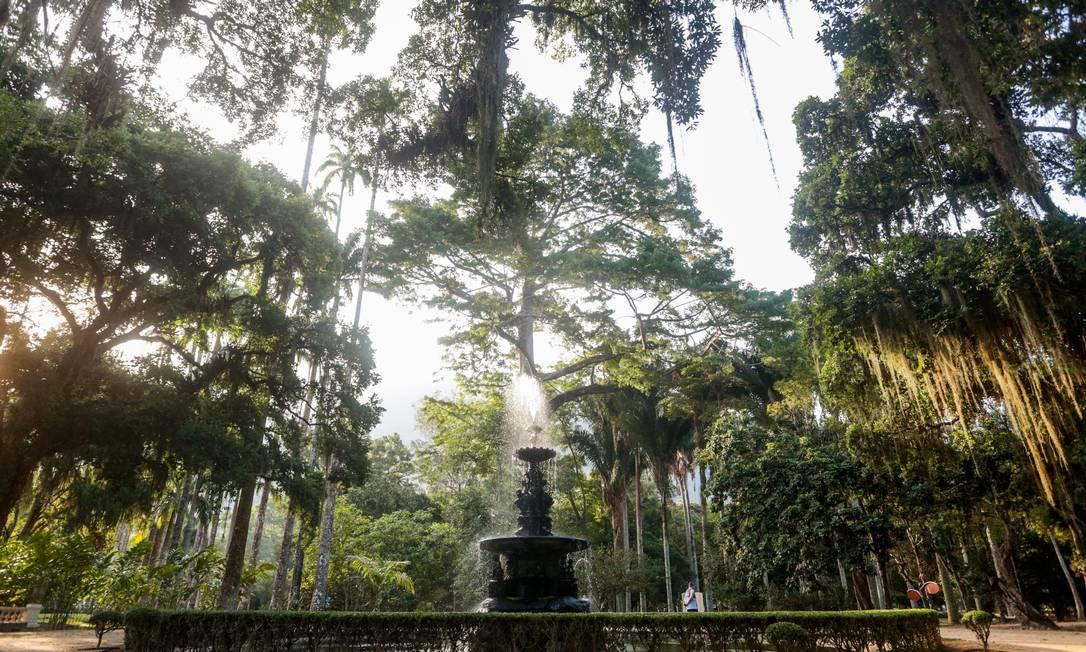 Chafariz. Uma das atrações do Jardim Botânico: entre as novidades previstas para o parque, está a criação de um novo centro de visitantes, o funcionamento de um portal bilíngue (português-inglês) e a instalação de 67 câmeras Foto: Pedro Kirilos / Agência O Globo