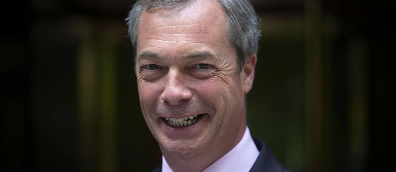 Nigel Farange, líder do Ukip. Defesa da saída do Reino Unido da União Europeia atraiu eleitores Foto: CARL COURT / AFP