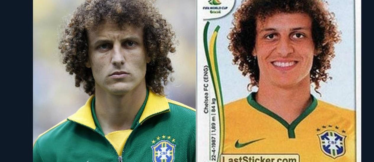 Dois momentos. David Luiz em campo e no álbum, figurinha difícil Foto: Fotomontagem