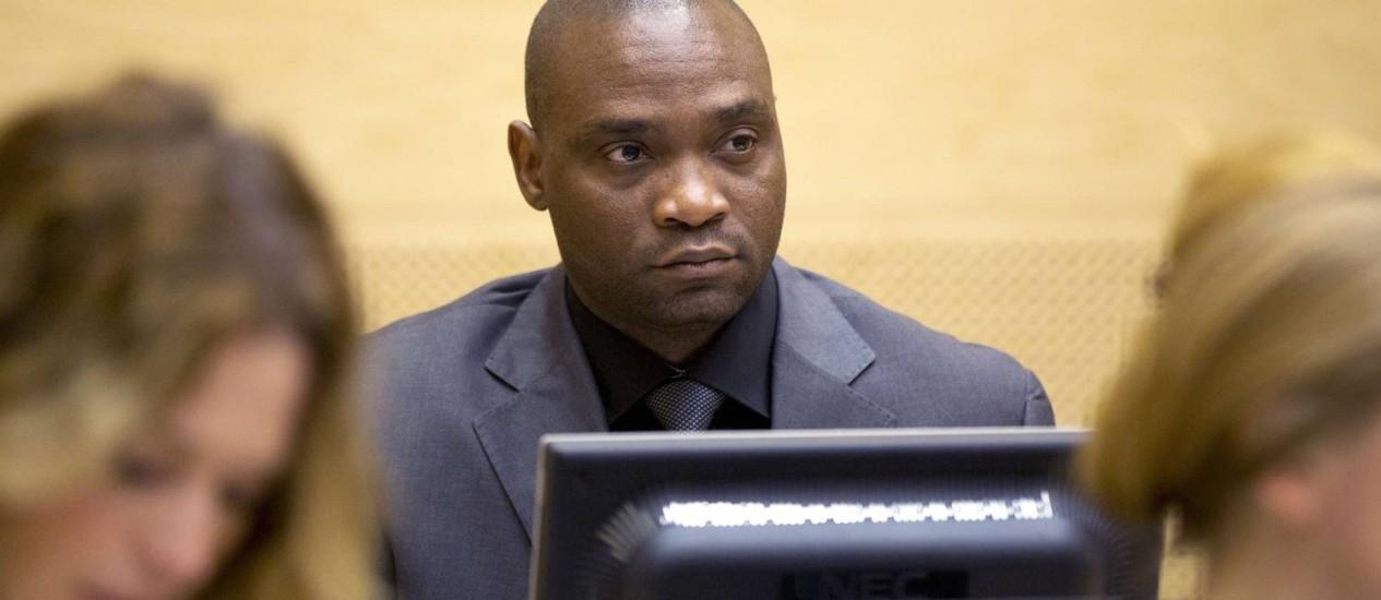 Germain Katanga, diante do TPI: sentença de 12 anos de prisão Foto: Armin Taslaman / AFP