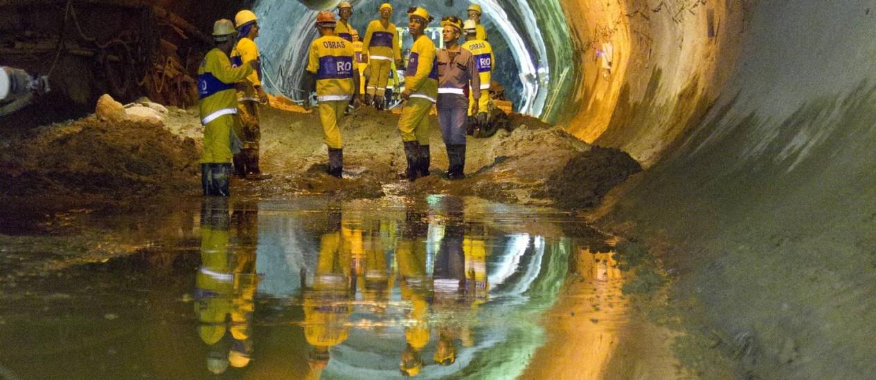 Obras. Novo túnel vai ligar o Rio Joana com a Baía de Guanabara reduzindo inundações na Praça da Bandeira Foto: Márcia Foletto / Agência O Globo