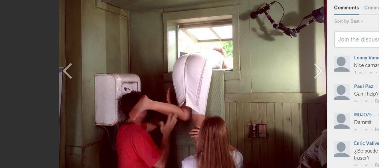Sofía Vergara precisou da ajuda da produção para pular a janela Foto: Divulgação