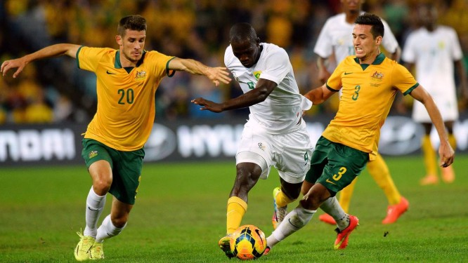 Australianos não fizeram uma boa apresentação, e mesmo jogando em casa ficaram só no empate com a África do Sul: 1 x 1 Foto: Saeed Khan / AFP